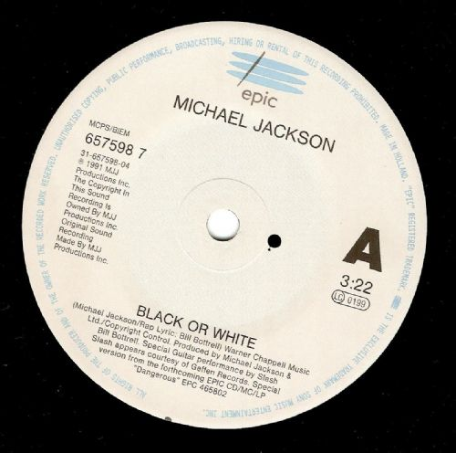 MICHAEL JACKSON Black Or White Vinyl Record 7 Inch Dutch Epic 1991